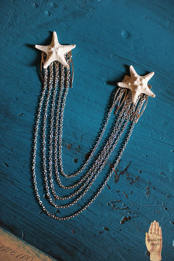 Mermaid Real Knobby Starfish Hair Chain by WhatHappensInOctober: