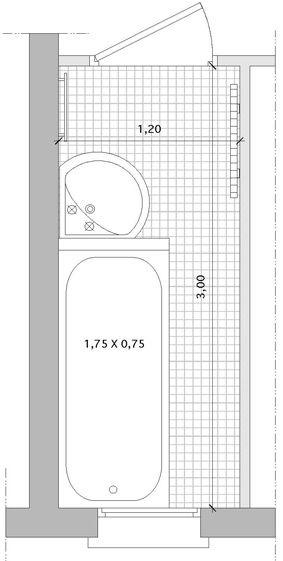 Salle de bain troite avec baignoire salle de bain pinterest for Plan salle de bains d