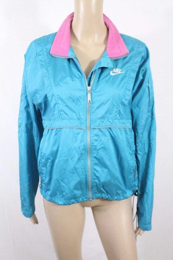 vtg 80s nike windbreaker jacket s teal blue pink hipster nylon