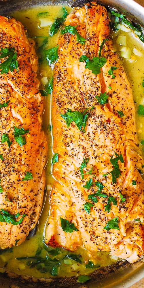 Trout with Butter Garlic Lemon Herb Sauce