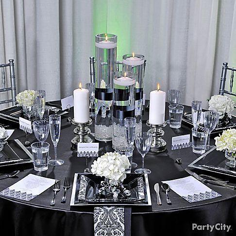 Black And Silver Table Decoration Ideas My Web Value Wedding Table Settings Wedding Table Linens Wedding Decor Elegant