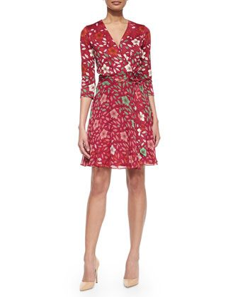 Silk Floral Wrap Dress, Red by Diane von Furstenberg at Neiman Marcus.