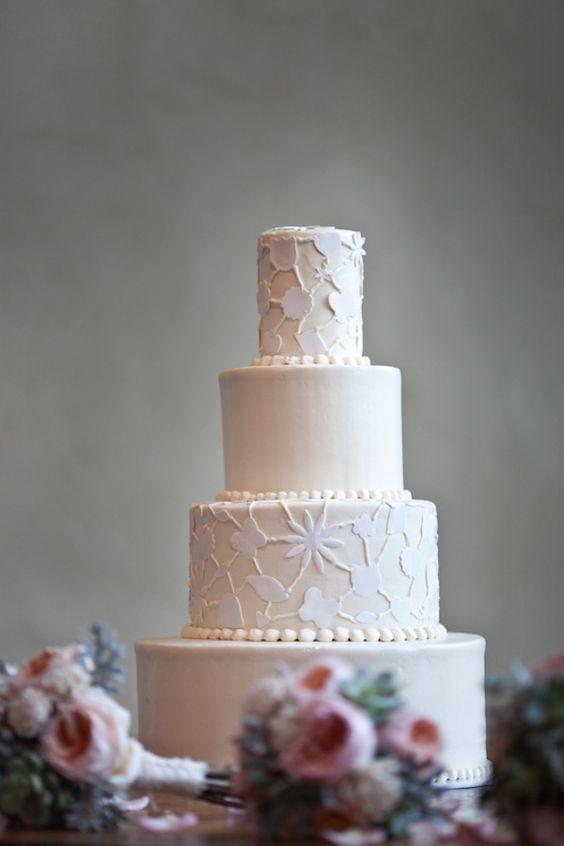beautiful white-on-white cut work #wedding #cake   Jenny DeMarco