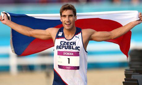 David Svoboda of Czech Republic celebrates winning the men's modern pentathlon, -day 15