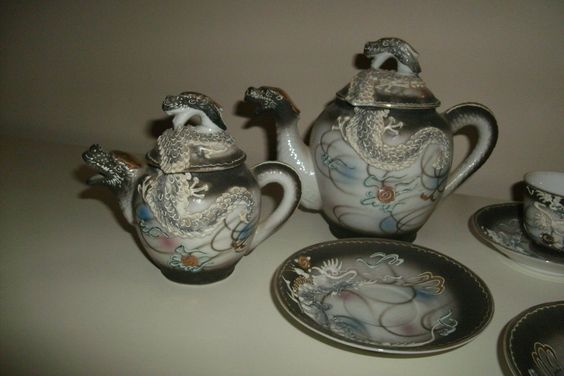 Antique 1920s Moriage Japan Hand Painted Victoria China Dragon Head Tea Set | eBay