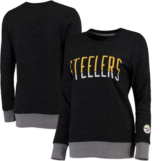Pittsburgh Steelers Pro Line Women's Team Essentials Latitude Clean Color Crew Neck Tri-Blend Sweatshirt - Heathered Black