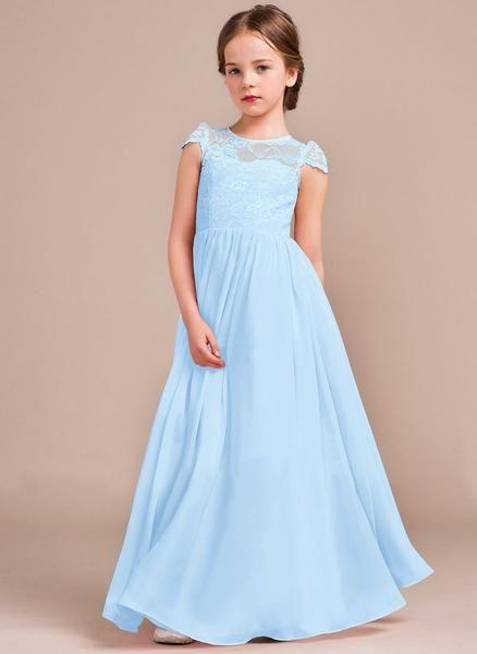 ff12a9de3c3d POPPY Pale Baby Blue chiffon Bridesmaid Flowergirl Party Dress UK ...