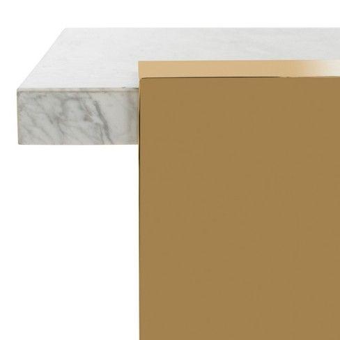 Mycha Marble Coffee Table Whitegold Safavieh White Gold