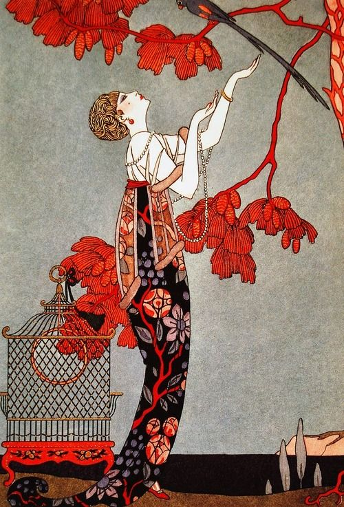 """""""L'oiseau volage"""" (the fickle bird), illustrated by George Barbier, 1914. Wherein Art Nouveau starts to become Art Deco, with reds & pinks all over."""
