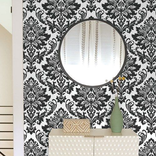 Damask Peel And Stick Wallpaper By Nextwall Lelands Wallpaper Peel And Stick Wallpaper Damask Wallpaper Transitional Wallpaper