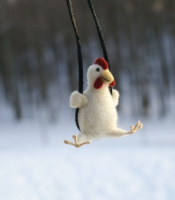 Tiny Chicken Necklace - needle felted: