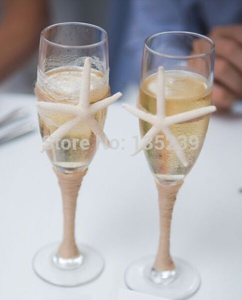 Goedkope Set van 2 strand champagne fluiten/bruid en bruidegom glazen met touw, Zeester, voor een rustieke, Strand bruiloft decor, koop Kwaliteit Event& party benodigdheden rechtstreeks van Leveranciers van China: ♥this item voor: 2 decoratieve champagneglazen♥measurements: hoogte- 9 inch(22.5cm), 220ml♥custom- gratis voor u!- veran