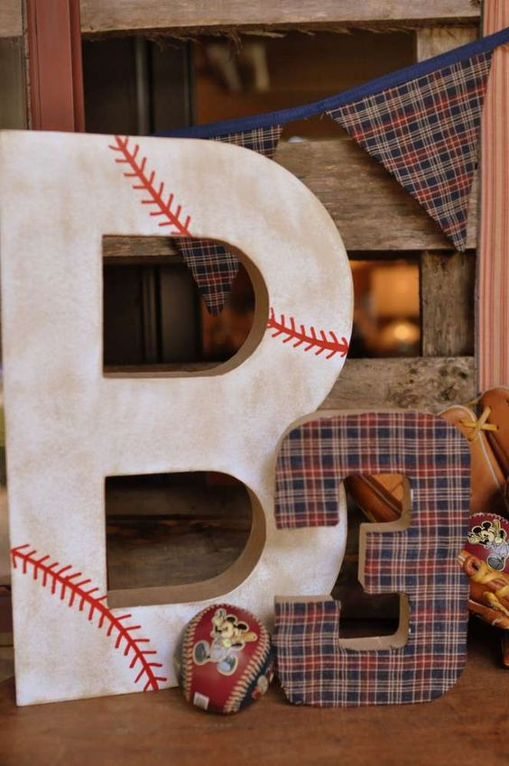 Decorations at a vintage Mickey baseball birthday party! See more party planning ideas at CatchMyParty.com!
