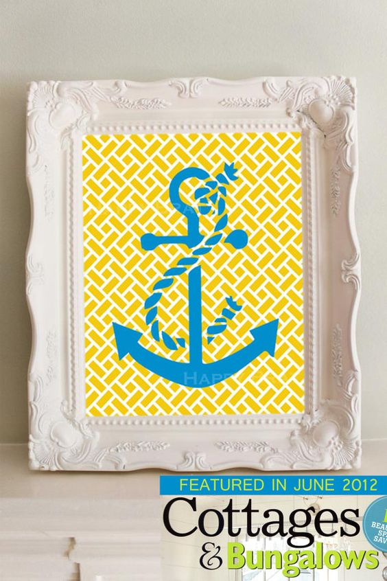 Anchor Art Print, Featured in Cottages  Bungalows Magazine,Nautical Decor. $14.00, via Etsy. @Erin Schedler so cute for the nursery!
