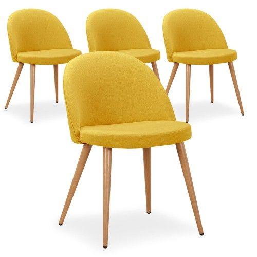 Lot de 4 chaises scandinaves Maury tissu Jaune | Chaise