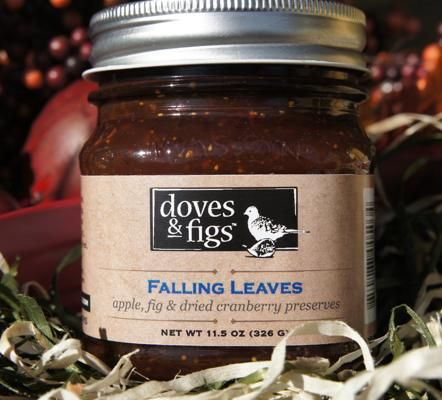 Falling Leaves, Doves and Figs: Falling Leaves is a chunky spread made from apples, dried figs and dried Cape Cod cranberries. Other favors include Evil Apple, a spicy apple and chipotle conserve.: