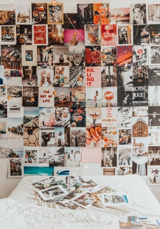 Dorm Room Photo Wall Ideas You Can Copy From Pinterest Society19 In 2020 Photo Walls Bedroom Picture Wall Bedroom Bedroom Wall Collage