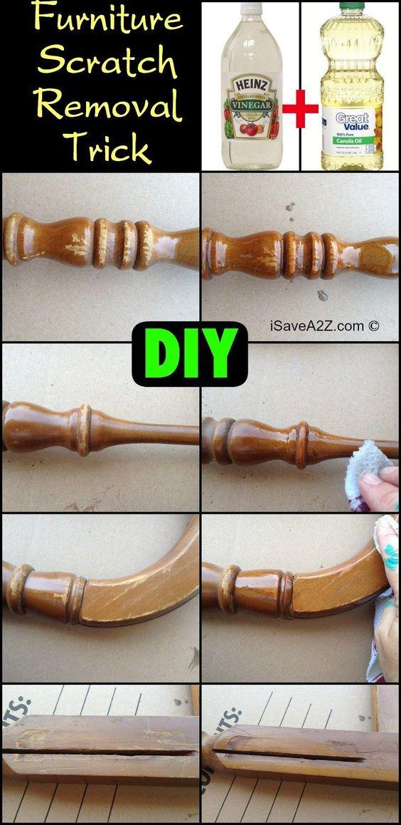 Diy Oil And Vinegar Furniture Scratch Removal Trick Furniture Wood Furniture And To Remove