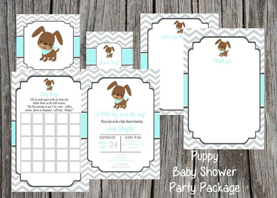 Puppy Baby Shower Party Package, baby boy shower, also available for girl,  boy themed shower, party package, choose items, DIY by PrintYourEvent on Etsy https://www.etsy.com/listing/209696307/puppy-baby-shower-party-package-baby-boy