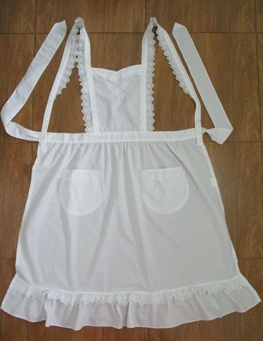 Adult//Teen Black Nurse or Maid Apron with White Lace Ruffles ~ HALLOWEEN COSTUME
