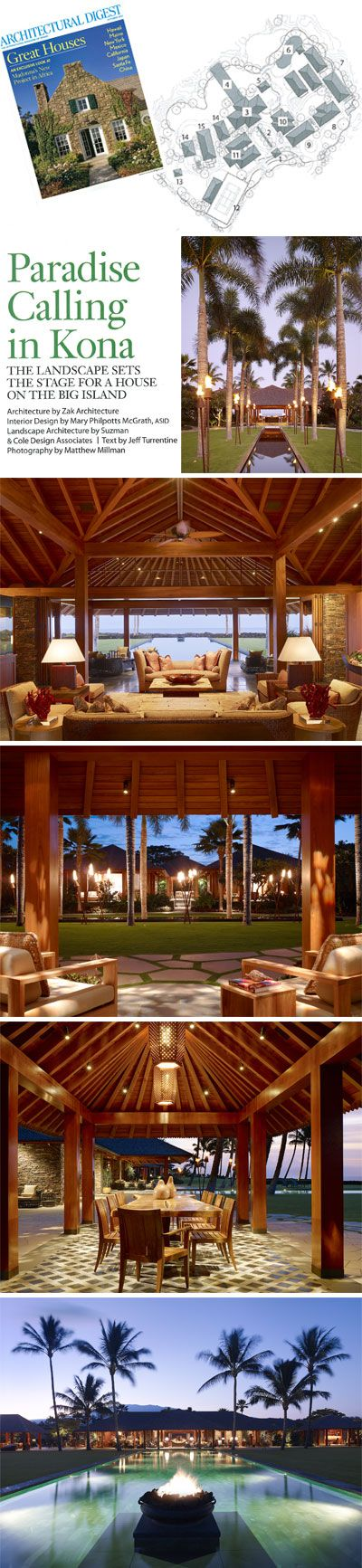 Press: Architectural Digest - Paradise Calling in Kona   Philpotts Interiors   Hawaii Interior Design Firm   Honolulu - San Francisco.  Architecture by Zak Architecture Interior Design by Mary Philpotts McGrath, ASID Landscape Architecture by Suzman & Cole Design Associates