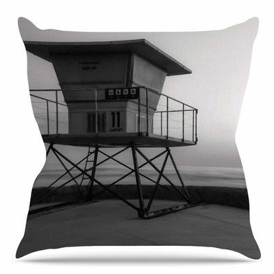East Urban Home Lifeguard Station at Dusk by Nick Nareshni Throw Pillow