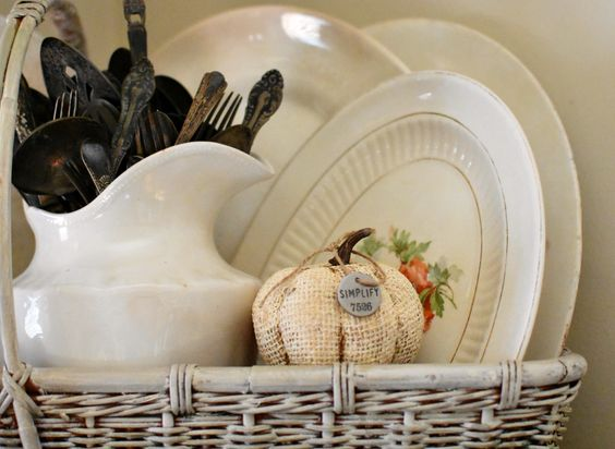 Follow The Yellow Brick Home - Elegant Vintage French Farmhouse Wheat and Pumpkins Fall Tablescape
