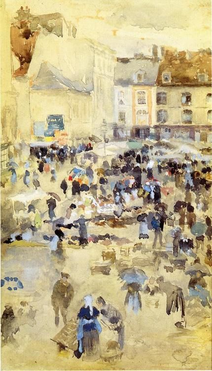 Variations in Violet and Grey - Market Place, 1885 by James Abbott McNeill Whistler