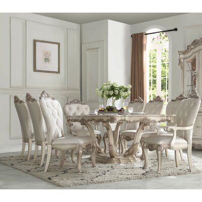 Astoria Grand Castonguay 9 Piece Extendable Dining Set Dinning Room Table Decor Pedestal Dining Table Rectangle Dining Table Dining room furniture for sale
