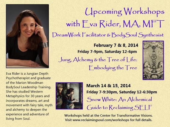 Santa Cruz, CA Jung, Alchemy and the The Tree of Life with Eva Rider, MA. is a workshop that explores the relationship between C.G. Jung's alchemical study and the Hermetic Tree of Life through the lens of the B… Click flyer for more >>