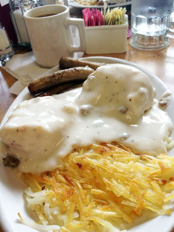 Farmer's Table Biscuits and Gravy with sausage and hashbrowns