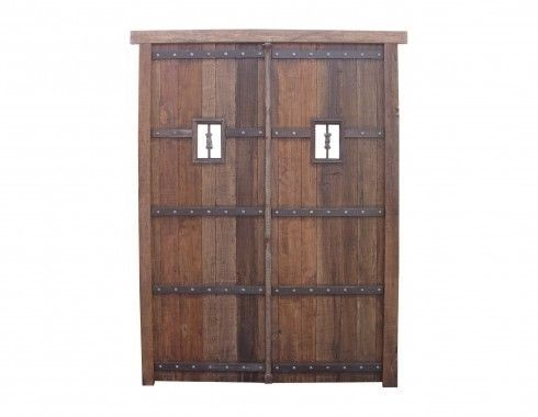Vintage Wine Cellar Double Doors with Wrought Iron Exoctic Wood Pre Hung | eBay
