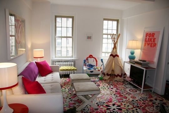 Cheerful, colorful family living space in Greenwich Village