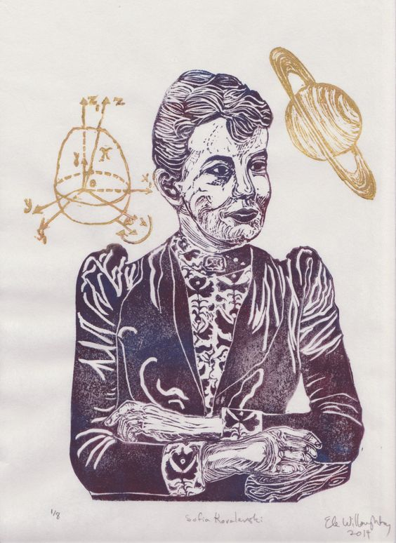 New to minouette on Etsy: Mathematician Sofia Kovalevski Linocut - History of Science Math & Literature Women in STEM Lino Block Portrait Print Sofia Kovalevski (39.00 USD)