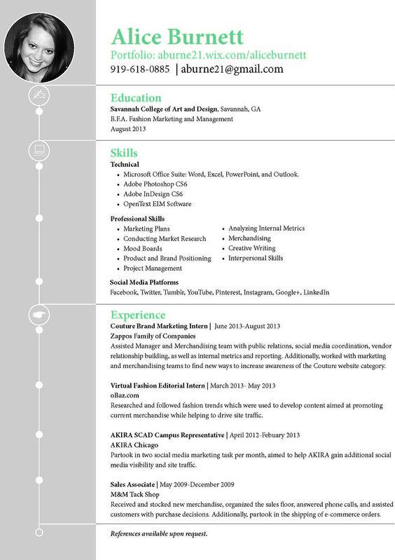 burnett home page fashion marketing resume and