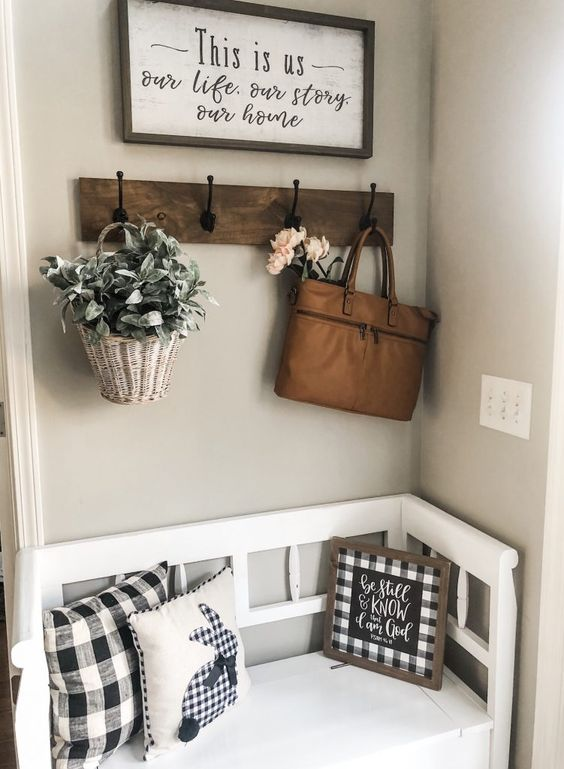 Simple Spring entry way bench with buffalo check and faux florals