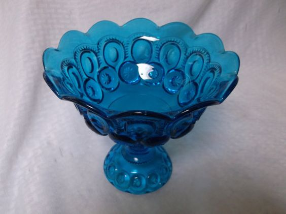 L E Smith Blue Moon and Stars Compote by VelsVintage on Etsy, $14.00