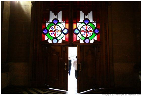 Door with stained glass windows above, Cathedral Metropolitana, Plaza de Armas.