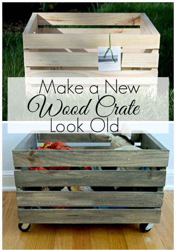 Modern Toy Box Living Room: Make A New Wood Crate Look Old - Dog Toybox