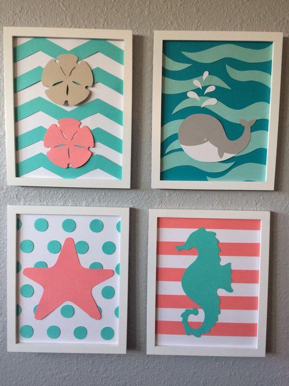 Sea Nursery Art Beach Themed Framed Set of 4 8x10 handmade baby paper art modern nursery teal coral whale seahorse starfish chevron nautical by BaxterBabyDecor on Etsy https://www.etsy.com/listing/255430308/sea-nursery-art-beach-themed-framed-set