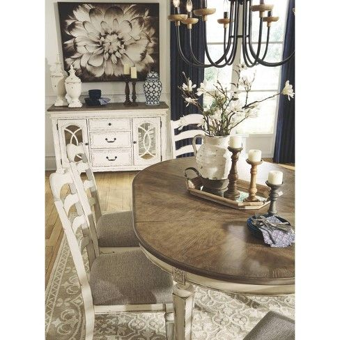 Realyn Oval Dining Room Extendable Table Chipped White Signature Design By Ashley In 2021 Farmhouse Dining Room Table Dining Room Table Decor Dining Room Table Centerpieces