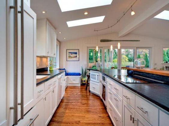 Open Contemporary White Kitchen  ahhh, skylights
