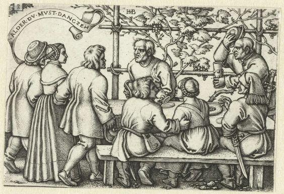 Hans Sebald Beham | Boeren aan een feestmaal, Hans Sebald Beham, 1546 - 1547 |