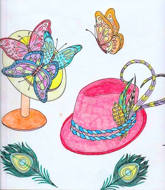 Coloured By Caroline Kish, (me). Birds & Butterflies Colouring Book. Using Pencils.