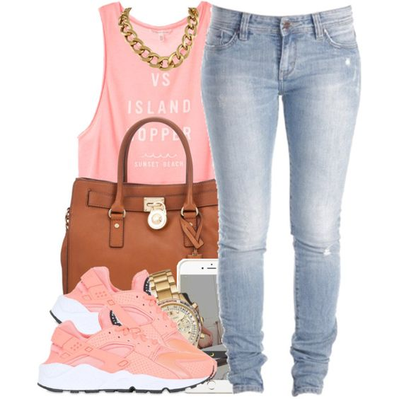Lil Summer Fit by polyvoreitems5 on Polyvore featuring Victoria's Secret, Lee, NIKE, MICHAEL Michael Kors and Michael Kors