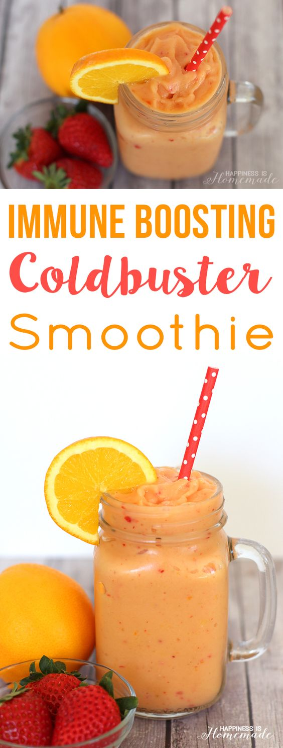Coldbuster Immunity Boosting Smoothie Recipe via Happiness is Homemade - Stay healthy this cold and flu season with this delicious immunity boosting smoothie packed full of Vitamin C and antioxidants.
