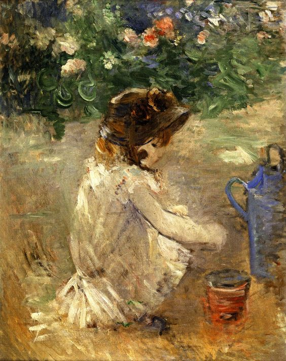 ⊰ Posing with Posies ⊱ paintings & illustrations of women & children with flowers - Mud Pie | Berthe Morisot
