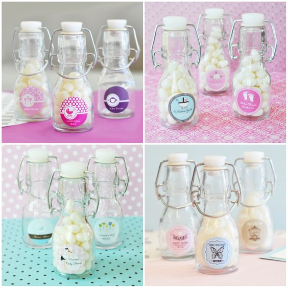 Mini Glass Bottle Baby Shower Favors from HotRef