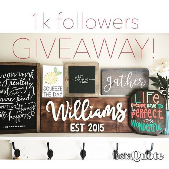 ❌❌CLOSED❌❌ I've teamed up with 5 AMAZINGLY talented makers to celebrate reaching 1k followers!! They've donated some really awesome stuff (including my new, personalized last name established sign!!) to giveaway to one of YOU!! Winner takes all!! The rules are super simple:  1⃣ LIKE this photo (that is your entry) 2⃣ Follow all amazing makers: (we will double-check 😉) @aliwoodcreations @blossomingburlap @splendid_beginnings @sawyerandbirch @addysonlanesigns @customizedbycristina 3⃣ That's…
