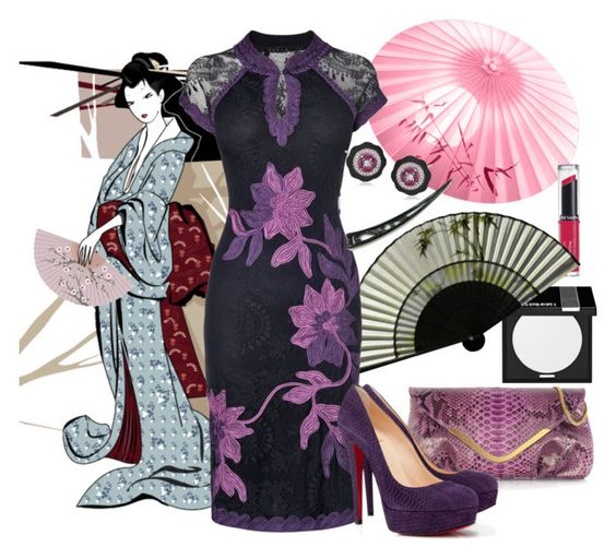 """Feel like a Geisha"" by bipa ❤ liked on Polyvore featuring Tokidoki, Ghibli, MAKE UP FOR EVER, Revlon, Phase Eight, Christian Louboutin, women's clothing, women, female and woman"